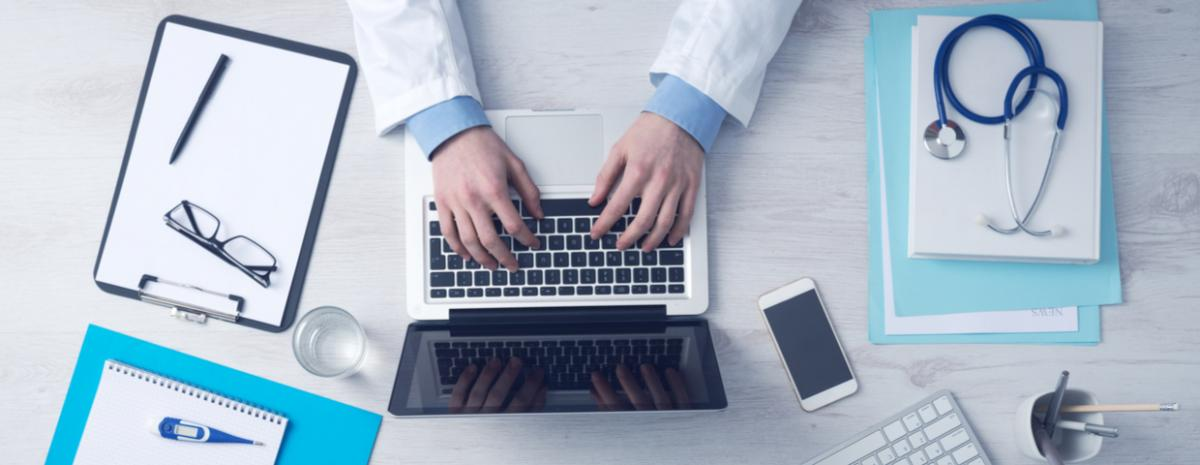 doctor working at desk