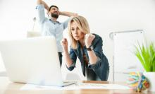 Man and Woman in Office with a Close Call