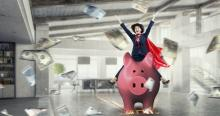 Cowgirl in Her Office Riding a Pig While Saving Money